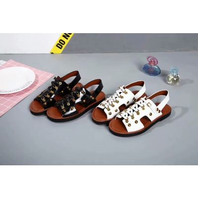 New Styles Dior Ladies Brass Buckle High-end Sheepskin Leather Lace-up Casual Sandals Black/White