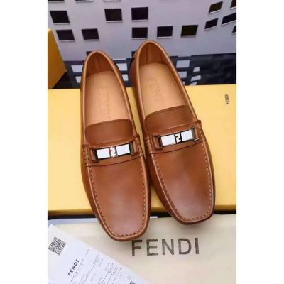 Imitation Fendi Two-tone Buckle Plaque Fashion Stitches Upper Male Black/Brown Calfskin Leather Loafers