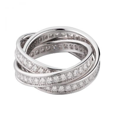 Trinity De Cartier Ladies' Three Circles Crystals Band Silver High Quality Valentine Gift Jewelry B4106200