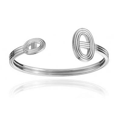 Hermes Chaine D'Ancre 24 Pig Nose Circle Cuff Bangle Silver Newest Victoria Style Lady Jewelry H114417B 00SH