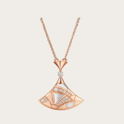 Bvlgari Ladies' Divas' Dream Mother Of Pearl & Crystals Pendant Necklace Silver/ Rose Gold Plated Jewelry 350065 Cl856964