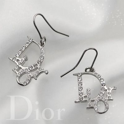 Christian Dior Crystals Name Logo Necklace-Bracelet-Earrings Set Silver US Hot Selling Lady Jewelry