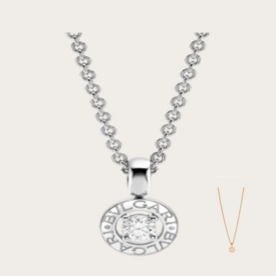 Bvlgari Bvlgari Women'S Round Pendant With Diamond  Necklace Silver/ Rose Gold Plated Celebrity Style Jewelry 340614 CL853447/340017 CL853337