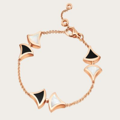 Bvlgari Divas'Dream Mother Of Pearl & Onyx Bracelet Pink Gold Plated Engagement Gift Women Jewelry BR856995