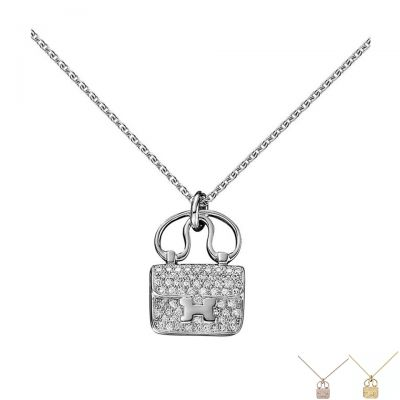Hermes Constance Amulette 18K Gold Diamonds Celebrity H109615B 00 Necklace Vouge Handbag Pendant