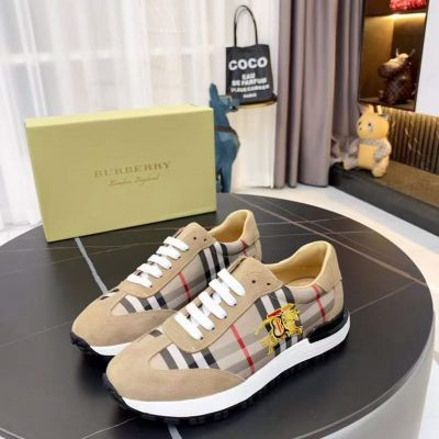 Replica Best Price Burberry Vintage Check Suede Leather Classic Logo Embroidery Trimming Male Beige Shoes