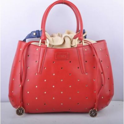 Fendi Red Leather Perforated Large B Fab Womens Handbag Blue Shoulder Strap Beige Lining Replica