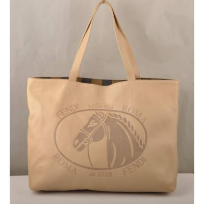 Apricot Fendi Narrow Flat Strap Ladies Lichee Veins Leather Horse Pattern Tote Bag For Sale