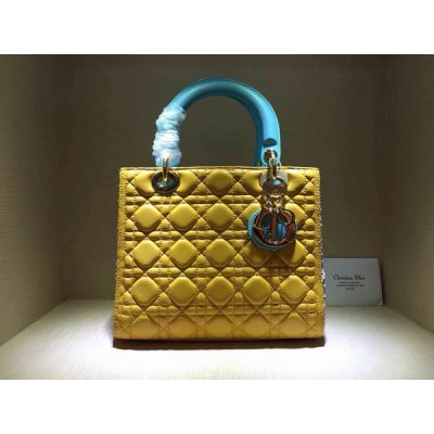 Fashion Dior Lady Yellow Cannage Leather Totes Bag Baby Blue Handle Python Leather Gusset