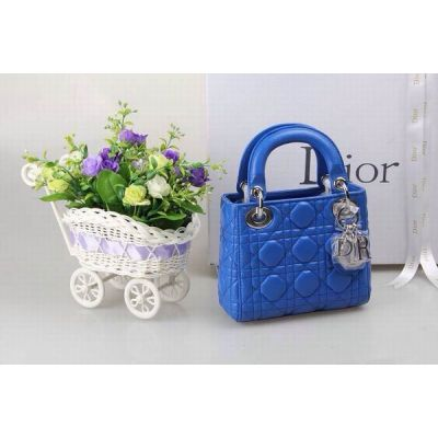 """AAA Quality Dior """"Lady Dior"""" Blue Cannnage Quilted Leather Mini Tote Bag Silver Pendant"""