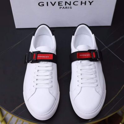 High Quality Givenchy Logo Letter Signature Red & Black Nylon Band Men's White Genuine Leather Sneakers
