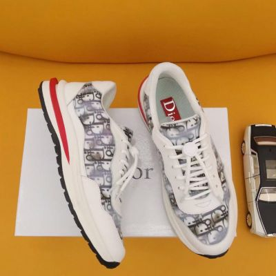 Spring/Summer Style Dior Fashion Oblique Galaxy Pattern High End White Genuine Leather Lace-up Sneakers For Men