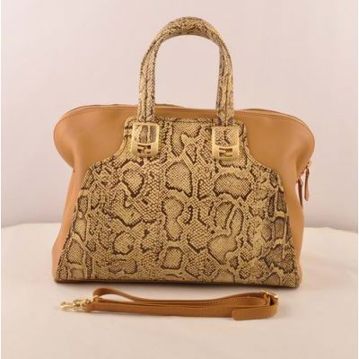 Fendi Yellow Snake Veins Leather Ladies Top Handle Apricot Leather Zipper Chameleon Crossbody Bag Buckle Trimming