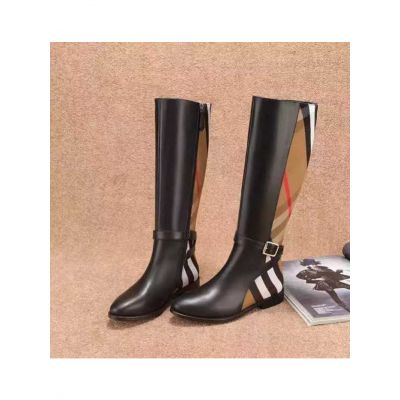 AAA Quality Burberry Cotton Fabric House Check & Black Calfskin Yellow Brass Buckle Winter Ladies High Boots