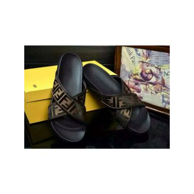 Fendi Comfortable Black Rubber Outsole Double F Pattern Brown Fabric Mens Flat Sandals With Leather Lining