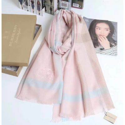 Burberry Pink Velvet & Purl Scarves Fine Grained Lattice Logo Embroidery 2017 New Arrival UK Review Women