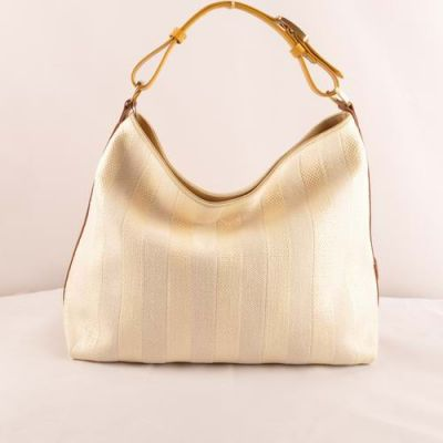 Contracted Fendi Yellow-Earth Yellow Leather Strap Beige Striped Linen Ladies Large Shoulder Bag Replica