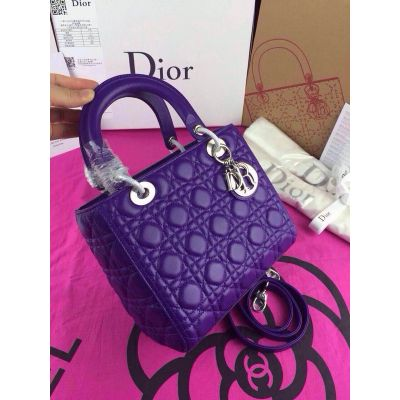 "Fake Medium Leather Dior ""Lady Dior"" Cannage Quilted Purple Crossbody Bag Silver Pendant Price Italy"
