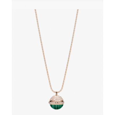 Piaget Possession Round Rotating Pendant Necklace Malachite & Crystals Rose Gold-plated Sale Malaysia G33PB900