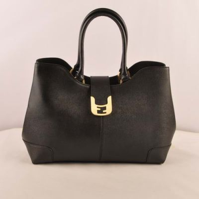 Black Classic Fendi Chameleon Yellow Gold Buckle Cross Veins Leather Flap Handbag Gusset With Snap Button
