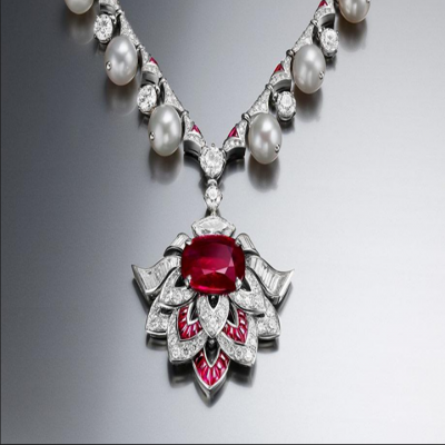 Bvlgari Festa High Jewelry Collection Pearl Necklace Earrings Set Flower Shape Pendant Ruby & Crystals Sale Malaysia