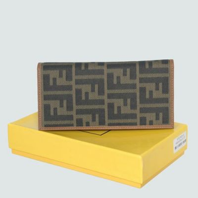 AAA Quality Fendi Brown Leather With F Pattern Fabric Long Folding Wallet For Womens