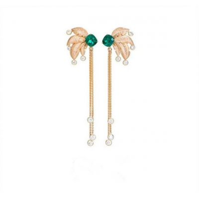Piaget Sunny Side Of Life High Jewelry Rose Gold-plated Tassel Drop earrings Crystals & Emerald Celebrities Sale