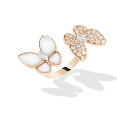 Van Cleef & Arpels Two Butterfly Between The Finger Ring Flying Beauties White Mother-of-pearl Diamonds VCARO7AL00