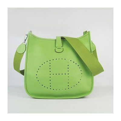 Hot Selling Hermes Proforated H Logo Mini Evelyne TPM Green Leather Shoulder Bag For Gilrls