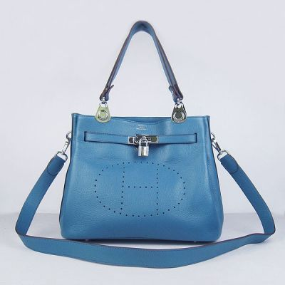Hermes So Kelly Silver Hardware Electric Blue Togo Leather 30cm Shoulder Bag With Pad-lock
