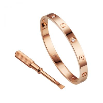 Cartier Love Bracelet Cheapest Price B6036017 18K Pink Gold Plated Diamonds Free Shipping With Box