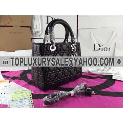 Timeless Pieces Black Medium Leather Dior Lady CAL44551 N0 Cannage Totes Bag Protective Base Silver Studs