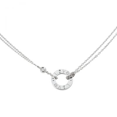 Wholesale Cartier Love Necklace 2018 Replacement B7219400 White Gold Plated Diamonds Price In Malaysia