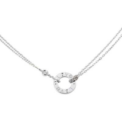 Classic Cartier Love  Double Chain 2 Diamonds Circle Pendant Female Necklace Silver/Yellow Gold/Rose Gold B7219500