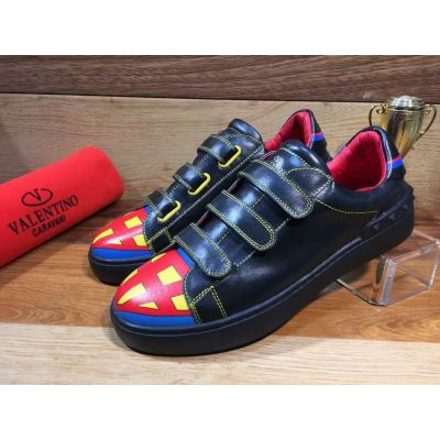Spring Latest Valentino Superhero Green Stitches High End Calfskin Leather Velcro Strap Sneakers For Boy