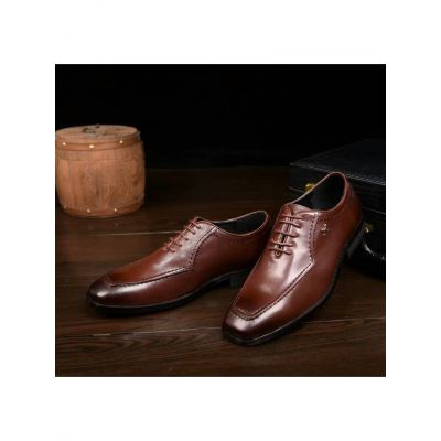 """Hermes Brown Calfskin Leather Guy Lace-up Business Shoes With Rose Gold """"H"""" Trimming Price List"""