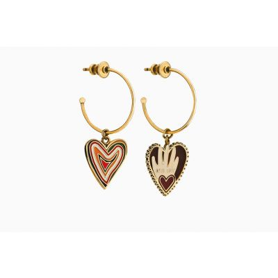 2018 Dior Dioramour Vintage Heart Shape Round Circle Gold-plated Earrings Replica E0937DMRLQ_D919