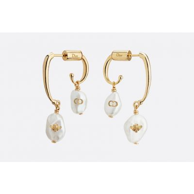 Hot Sale Christian Dior Perles De Désir Gold-plated White Pearl CD & Bee Earrings Replication E0864PDSFW_D301