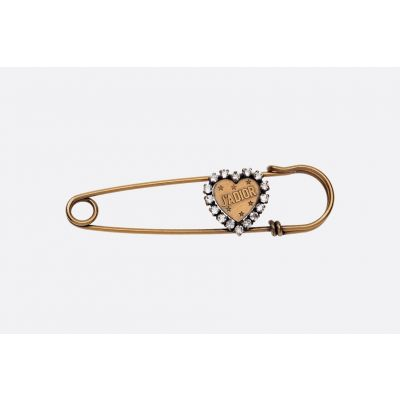 2018 New Dior L'Amour Avenir White Diamonds Gold Color Brooch Imitation Retro Style For Women V0290LAVCY_D908
