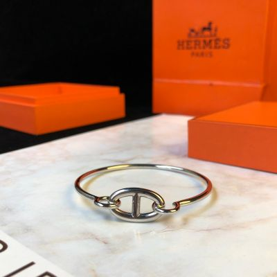 2021 Best Price Hermes Chaine D'Ancre Anchor Chain Design 925 Sterling Silver/Rose Gold Bangle For Ladies Online