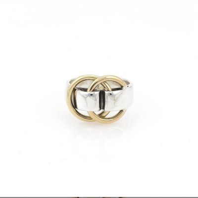 2021 Unique Style Hermes Double Interlocking Circles Charm Unisex  Yellow Gold & 925 Silver Two-tone Ring For Sale