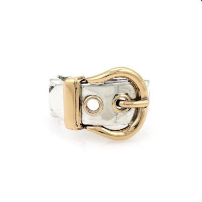 Replica Women's Hermes Classic Yellow Gold Belt Buckle Charming Two-tone Ring Sterling Silver Vintage Jewellery