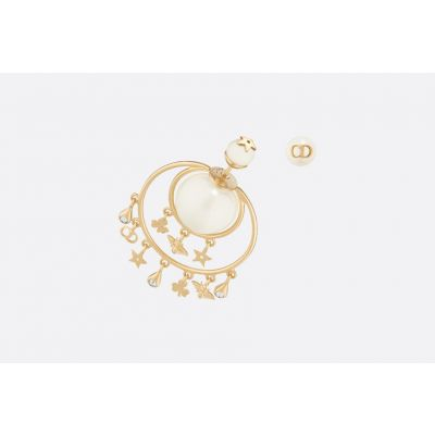 2019 Women's Dior Tribales Flower/Bee/Star/CD Charmmings Yellow Gold Asymmetry Pearl Earrings E0955TRIRS_D301
