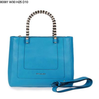 High Quality Bvlgari Serpenti Two Small Open Fabric Pockets Inside Light Blue Leather Tote Bag
