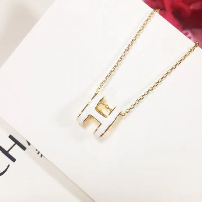 2021 Hermes Fashion Pop Enamel H Logo Motif Pendant Females Yellow Gold Plated Necklace White/Red/Orange/Black