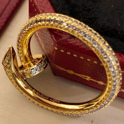 2021 Cartier Juste Un Clou Luxury Paved Diamonds Nail Shaped Female For Sale Ring Yellow Gold/Rose Gold N4748600