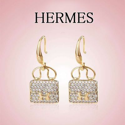 Replica Hermes High End Kelly Fully Diamonds Bag Pendant Lady Yellow Gold Plated  Drop Earrings 2021 High End Jewellery