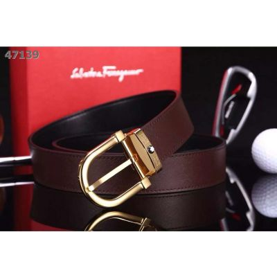 Good Reviews Montblanc Fashion Single Tongue Buckle Black/Burgundy Epsom Leather Guy Leisure Belt 35mm