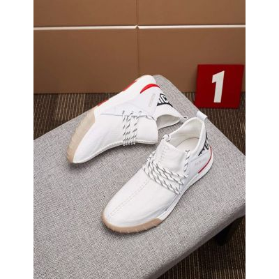 2018 Fashion Balenciaga Logo-Ribbon Charming Two-tone Laces Mens Leather Sneakers White/Burgundy Replica