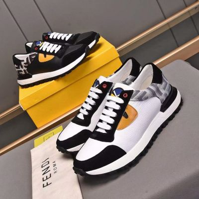 Classic Style Fendi F Logo Monster Motif  Low-top Males Cow Leather Lace-up Sneakers Price Online Replica